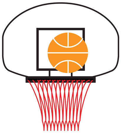 a basketball being shot into a hoop Ilustrace