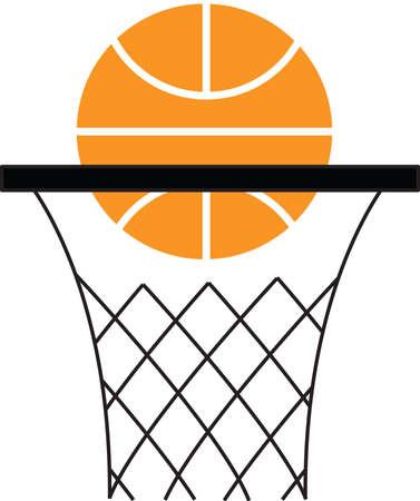 basketball hoop: a basketball being shot into a hoop logo