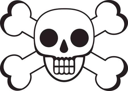 cross bones: Muerte Skull And Bones Cross Vectores