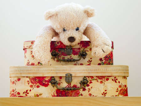 Adorable childs Teddy Bear laying on floral gift boxes.