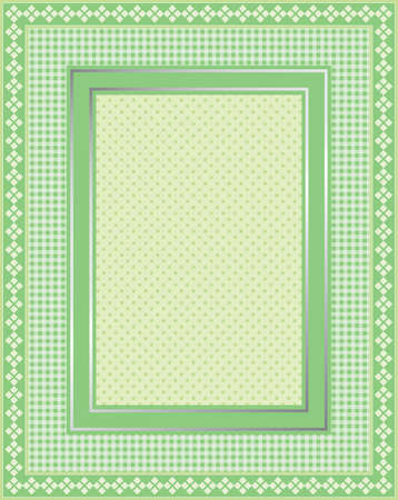 gingham: This is a illustration of an elegant lacy green frame. Great boarder design. Great for stationary and scrapbooking.