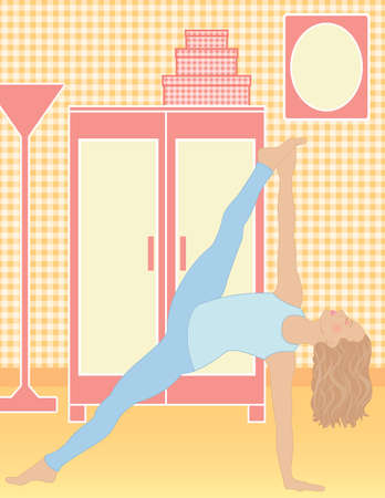 limber: Beautiful woman practicing yoga to increase her spiritual and physical well being. Illustration