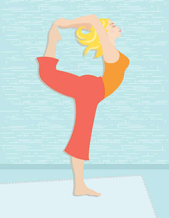 Beautiful woman practicing yoga to increase her spiritual and physical well being. Vector