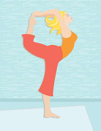 Beautiful woman practicing yoga to increase her spiritual and physical well being. Illustration