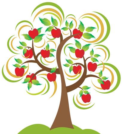 albero di mele: Un albero di mele bella in piena fioritura e soffia il vento di stagione di caduta.