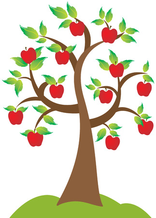 albero di mele: Un albero di mele bella in piena fioritura e soffia il vento di stagione di caduta. Vettoriali