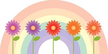 A beautiful collection of flowers with a rainbow background.  Illustration
