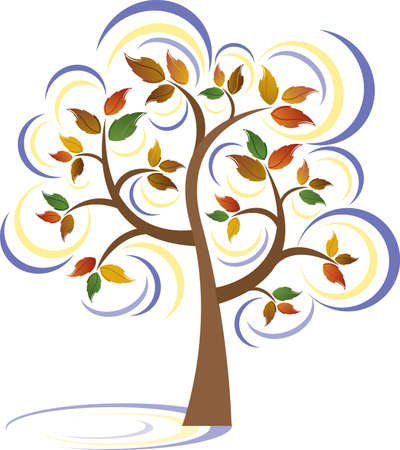 A vector illustration of a beautiful tree blowing in the wind. Stock Illustratie
