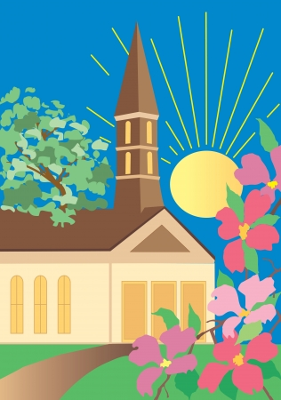 sermon: A path to church on a sunny day. Illustration