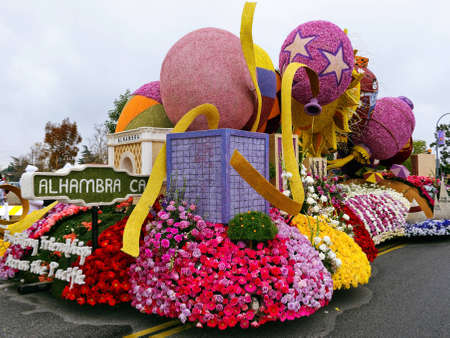 """rose bowl parade: PASADENA, CA - JANUARY 1: The City of Alhambra submitted a float at the 122nd Tournament of Roses Parade themed """"Building Friendships across the Pacific"""" on January 1, 2011 in Pasadena, California."""