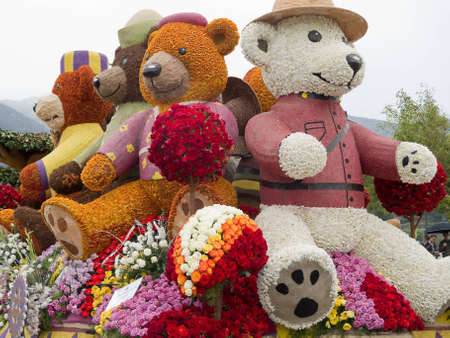 """rose bowl parade: PASADENA, CA - JANUARY 1: The Rotary Rose Parade Float Committee designed their float """"Building Dreams, Friendships and Memories,"""" to eradicate polio by raising awareness in the 122nd Tournament of Roses Parade on January 1, 2011 in Pasadena, Californ"""