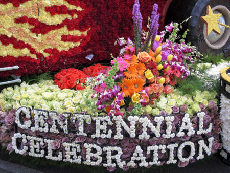 rose bowl parade: PASADENA, CA - JANUARY 1: The City of Burbank float Centennial Celebration won the Founders Trophy at the 122nd Tournament of Roses Parade on January 1, 2011 in Pasadena, California.