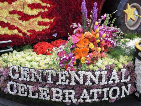 rose bowl parade: PASADENA, CA - JANUARY 1: The City of Burbank float Centennial Celebration won the Founders Trophy at the 122nd Tournament of Roses Parade on January 1, 2011 in Pasadena, California.