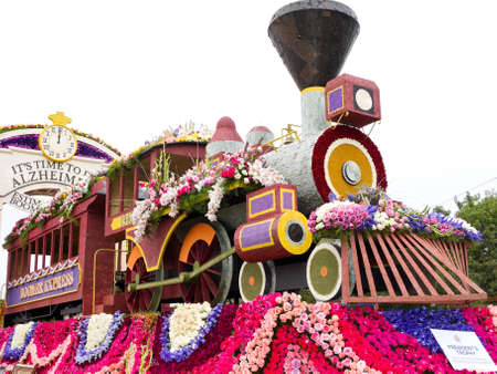 rose bowl parade: PASADENA, CA - JANUARY 1: The Alzheimers Association and Pfizers float was shown at the 122nd Tournament of Roses Parade on January 1, 2011 in Pasadena, California.