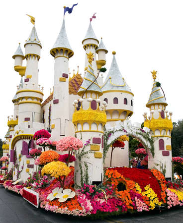 pasadena: PASADENA, CA - JANUARY 1: The Bayer Advanced float themed Camelot in the 122nd Tournament of Roses Parade on January 1, 2011 in Pasadena, California.