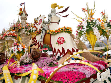 tournament of roses: PASADENA, CA - JANUARY 1: The Bayer Advanced float themed Camelot in the 122nd Tournament of Roses Parade on January 1, 2011 in Pasadena, California.