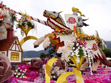 rose bowl parade: PASADENA, CA - JANUARY 1: The Bayer Advanced float themed Camelot in the 122nd Tournament of Roses Parade on January 1, 2011 in Pasadena, California.