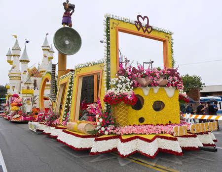 televised: PASADENA, CA - JANUARY 1: City Of Glendale Say Cheese float at the 122nd tournament of roses Rose Parade on January 1, 2011 in Pasadena California Editorial