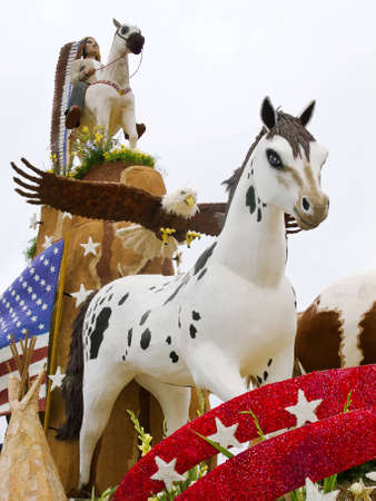 televised: PASADENA, CAUSA - JANUARY 1: The Saving Americas Mustangs Foundation float was displayed at the 122nd Tournament of Roses Parade on January 1 2011 in Pasadena California.  Editorial