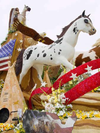 PASADENA, CAUSA - JANUARY 1: The Saving Americas Mustangs Foundation float was displayed at the 122nd Tournament of Roses Parade on January 1 2011 in Pasadena California.
