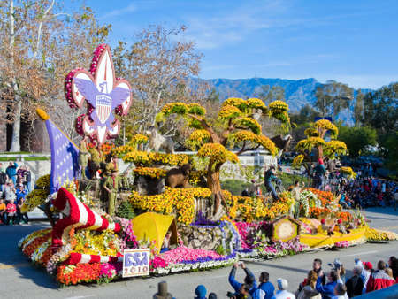 rose bowl parade: Pasadena, California, USA - January 1, 2010: The Boy Scouts of America float won the National Award in the 121rd Tournament of Roses Parade.