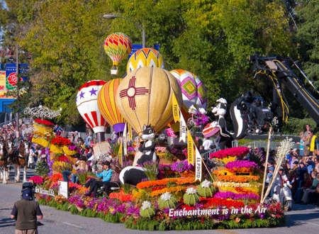 rose bowl parade: PASADENA, CA - JANUARY 1: The New Mexico float named: Enchantment is in the Air was  exhibited at Tournament of Roses Parade on January 1, 2011 in Pasadena, California.