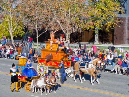televised: Pasadena, California, USA - January 1, 2010: The Tournament of Roses Parade was broadcasted across the world.