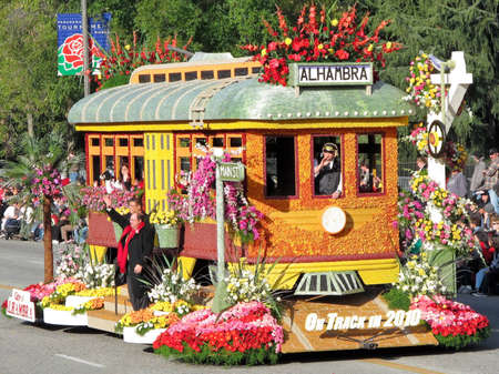 tournament of roses: PASADENA, CA - JANUARY 1: The Alhambra float on display at 121st Tournament of Roses Parade on January 1, 2010 in Pasadena, California.