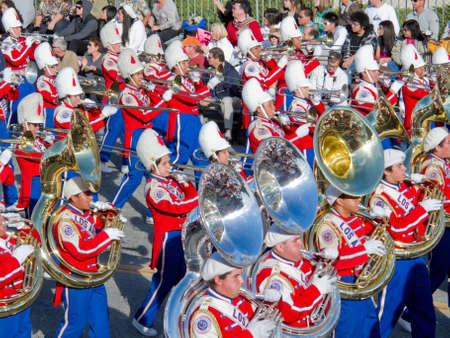 tuba: Pasadena, California, USA - January 1, 2010: The Tournament of Roses Parade was televised across the world. Editorial