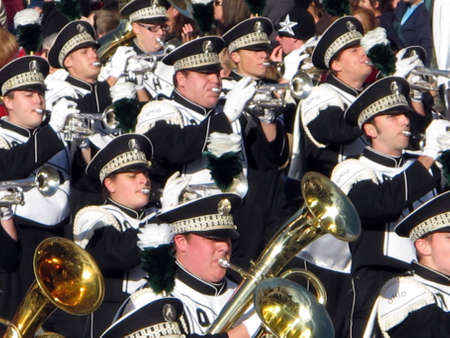marching: Pasadena, California, USA - January 1, 2010: The Tournament of Roses Parade was televised across the world. Editorial