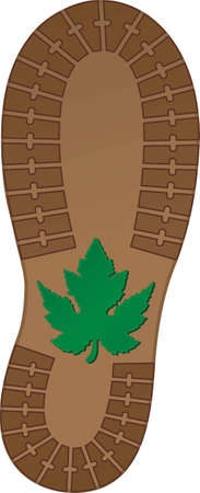 hiking boot: This is an illustration of a hiking boot stepping on a leaf during a hiking adventure through a forest trail. Illustration