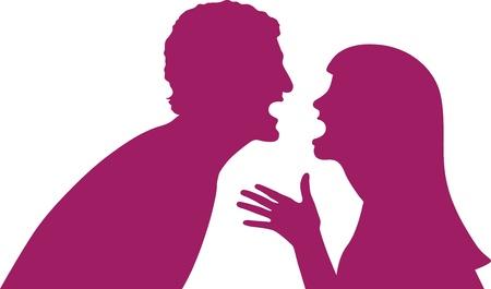 col�re: Ceci est une illustration d'un couple tente de r�soudre leurs probl�mes en parlant de leurs probl�mes. Illustration