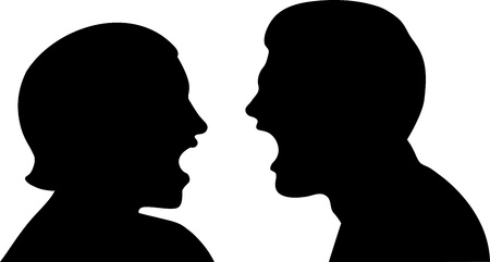 This is a vector illustration of a couple trying to work out their problems by talking about their issues.