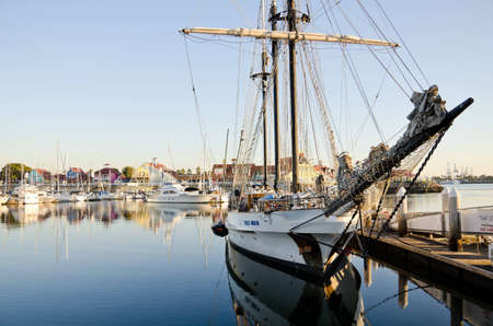 Long Beach, California, USA, October 27, 2011: Boats are docked in the Shoreline Village area of Long Beach, California.