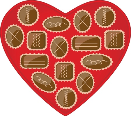 This is a vector illustration of a heart shaped box of chocolate candies. Vector