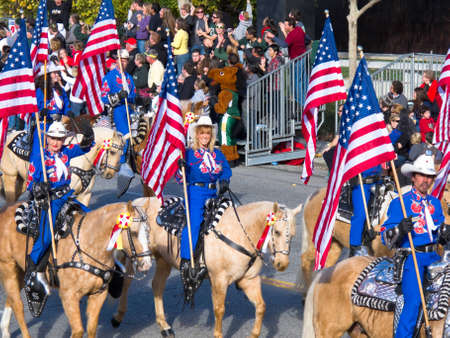 rose bowl parade: PASADENA, CA - JANUARY 1: The Long Beach Mounted Police proudly preformed with their horses in the 121st Tournament of Roses Parade on January 1, 2010 in Pasadena, California.