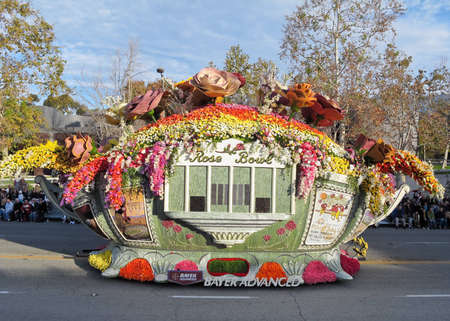 televised: PASADENA, CA - JANUARY 1: The Bayer Advanced float named We Are The Champions won the Queens Trophy in the Rose Bowl Parade on January 1, 2010 in Pasadena, California.  Editorial