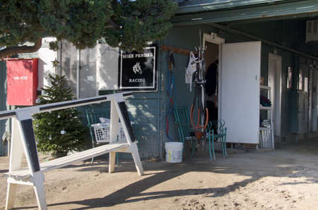 ARCADIA, CA - DECEMBER 29, 2011: Behind the scenes at Santa Anita Racetrack in the stables.