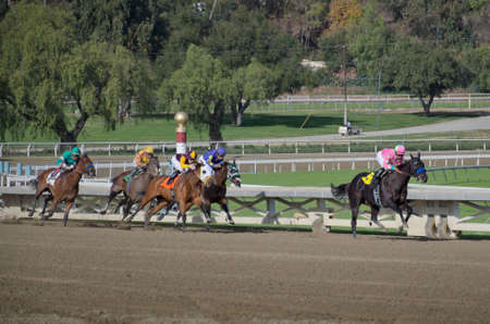 ARCADIA, CA - DECEMBER 29, 2011: Horse racing at Santa Anita Racetrack. 에디토리얼