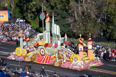Pasadena, California, USA - January 2, 2012: US Bank's float called, Idea Factory participated in the 123rd Tournament of Roses Parade. Stock Photo - 11748024