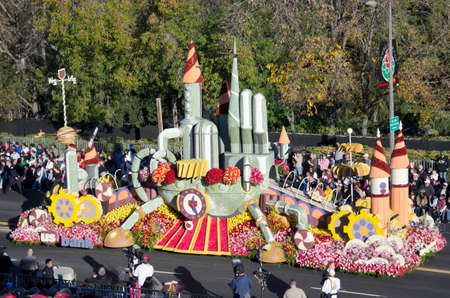 rose bowl parade: Pasadena, California, USA - January 2, 2012: US Banks float called, Idea Factory participated in the 123rd Tournament of Roses Parade.