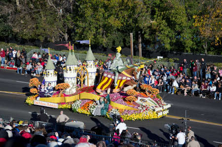 exist: Pasadena, California, USA - January 2, 2012: Odd Fellows and Rebekahs float called: Shining Knights Still Exist, participated in the 123rd Tournament of Roses Parade.