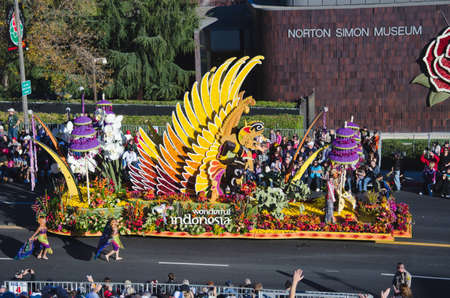 tournament of roses: Pasadena, California, USA - January 2, 2012: Republic Of Indonesias float called Wonderful Indonesia participated in the 123rd Tournament of Roses Parade.