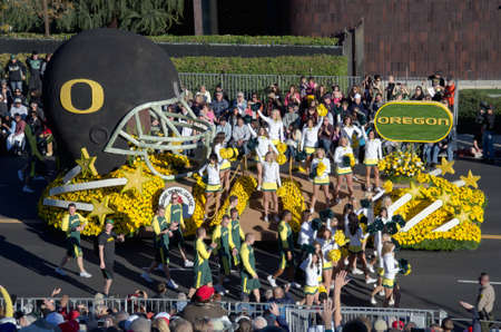 tournament of roses: Pasadena, California, USA - January 2, 2012: The University of Oregon float was seen in the 123rd Tournament of Roses Parade.