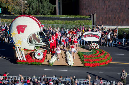 rose bowl parade: Pasadena, California, USA - January 2, 2012: The University of Wisconsin float was seen in the 123rd Tournament of Roses Parade.