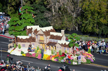 rose bowl parade: Pasadena, California, USA - January 2, 2012: HGTV Editorial