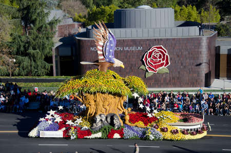 rose bowl parade: Pasadena, California, USA - January 2, 2012: he Western Asset Float called: Imagine In America, participated in the 123rd Tournament of Roses Parade.