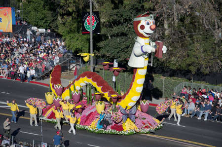 Pasadena, California, USA - January 2, 2012: The Rotary International Float called Inching Toward The End Of Polio participated in the 123rd Tournament of Roses Parade. Stock Photo - 11767643