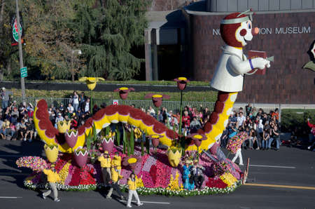 Pasadena, California, USA - January 2, 2012: The Rotary International Float called Inching Toward The End Of Polio participated in the 123rd Tournament of Roses Parade.