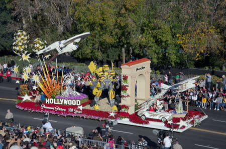 rose bowl parade: Pasadena, California, USA - January 2, 2012: Paramount Pictures Float Called 100 Years Of Movie Magic participated in the 123rd Tournament of Roses Parade. Editorial